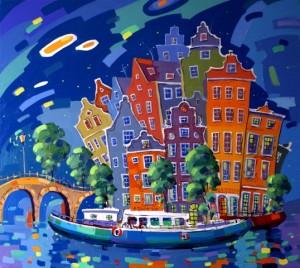 """Амстердам"" холст, акрил 80 х 90 см."