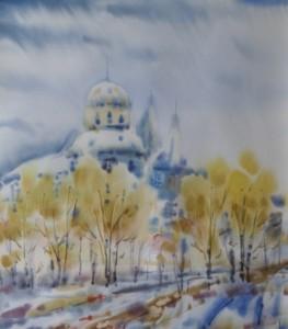 """""""Зима в Климонтове"""" бумага, акварель 51х45 см."""